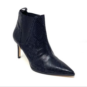 Zara Leather Snakeskin Stiletto Ankle Boots 38